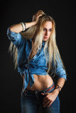 Beautiful woman body in jeans Royalty Free Stock Photo