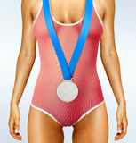 Beautiful woman body with medal Stock Image