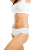 Beautiful woman body in white cotton underwear Royalty Free Stock Image