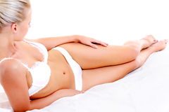 Beautiful woman body in white  lingerie Royalty Free Stock Photos