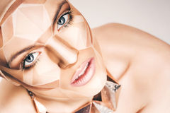 Beautiful woman with bodyart on face Royalty Free Stock Image