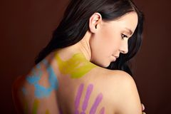 Beautiful woman with bodypainting Stock Photography