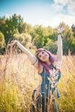 Beautiful woman in boho style enjoy sunlight Royalty Free Stock Photos