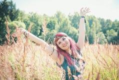 Beautiful woman in boho style enjoy sunlight Stock Photos