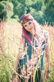 Beautiful woman in boho style enjoy sunlight Royalty Free Stock Image