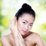 Beautiful woman with bokeh background Stock Photos