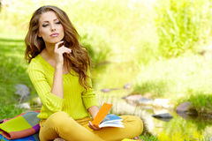 Beautiful woman  with book Stock Photo