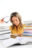 Beautiful woman with books Stock Photos