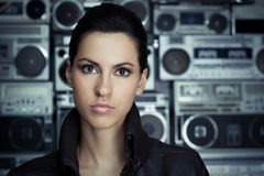 Beautiful woman with Boom Box background Stock Photo