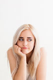 Beautiful woman with boring look, copy space Royalty Free Stock Photography
