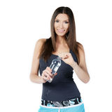Beautiful woman with bottle of mineral water Stock Photo