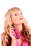 beautiful    woman with bottle of perfume Royalty Free Stock Image