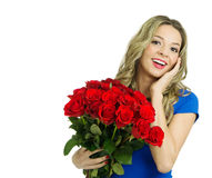 Beautiful woman with bouquet of red roses Stock Image
