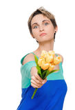 Beautiful woman with bouquet Stock Photos