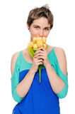 Beautiful woman with bouquet Royalty Free Stock Photos