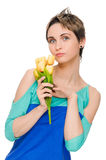 Beautiful woman with bouquet Stock Images