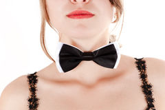 Beautiful woman with a bow tie Royalty Free Stock Image