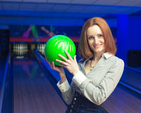 Beautiful woman in a bowling Royalty Free Stock Images