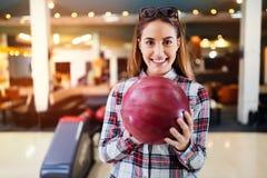 Beautiful woman bowling Royalty Free Stock Photo