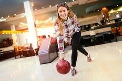 Beautiful woman bowling Royalty Free Stock Image