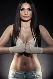 Beautiful woman boxer portrait Royalty Free Stock Photo