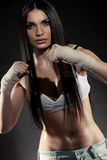 Beautiful woman boxer portrait Stock Images