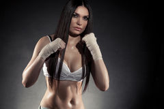 Beautiful woman boxer portrait Stock Images