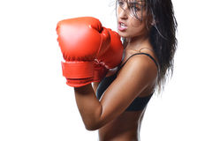 Beautiful woman boxing Royalty Free Stock Photos