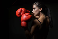 Beautiful woman boxing Royalty Free Stock Photo