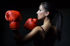 Beautiful woman boxing Royalty Free Stock Photography