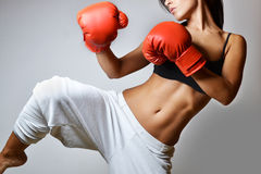 Beautiful woman boxing Stock Photos