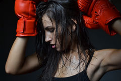 Beautiful woman boxing Stock Images
