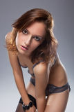 A beautiful woman with a bra and slip Royalty Free Stock Photos