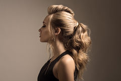 Beautiful woman. Braid Tail Hairstyle. Royalty Free Stock Photos