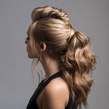 Beautiful woman. Braid Tail Hairstyle. Studio Royalty Free Stock Photography