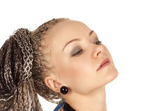 Beautiful woman with braids Royalty Free Stock Photo