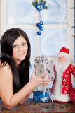 Beautiful woman in brassiere, hold present Stock Photography