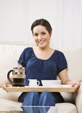 Beautiful Woman with Breakfast Tray Royalty Free Stock Photo