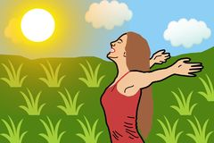 Happy woman with her arms outstretched breathe fresh air deep in a green wheat field wearing a red shirt. Freedom and health conce vector illustration