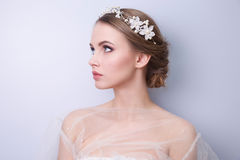 Beautiful woman  bride with tiara on head Royalty Free Stock Images