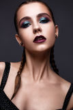 Beautiful woman with bright creative make-up. Model with braids and lip color marsala. Beauty face. The photo was taken in a studio Stock Photo
