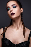 Beautiful woman with bright creative make-up. Model with braids and lip color marsala. Royalty Free Stock Image