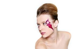 Beautiful woman with bright face art visage Royalty Free Stock Image