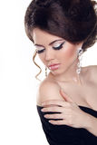 Beautiful woman with bright make-up. Jewelry and Beauty. Fashion Royalty Free Stock Images