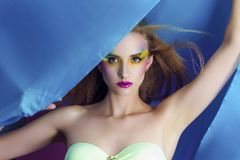 Beautiful woman with bright make up Royalty Free Stock Photos