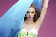 Beautiful woman with bright make up Royalty Free Stock Photo