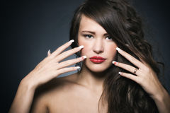 Beautiful woman with bright makeup Stock Photography