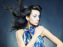 Beautiful woman with bright makeup and manicure stock photo