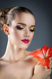 Beautiful woman with bright makeup Stock Images