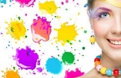 Beautiful woman with bright makeup Stock Photos